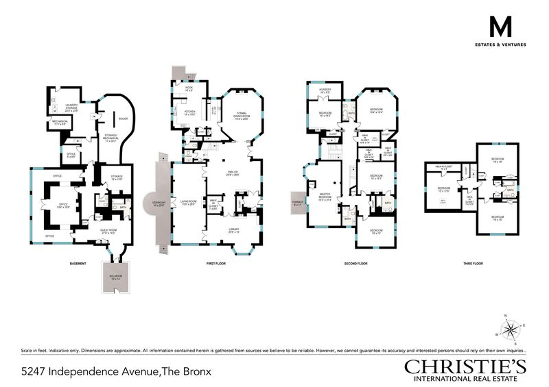 Floor plan showing four levels of a house.