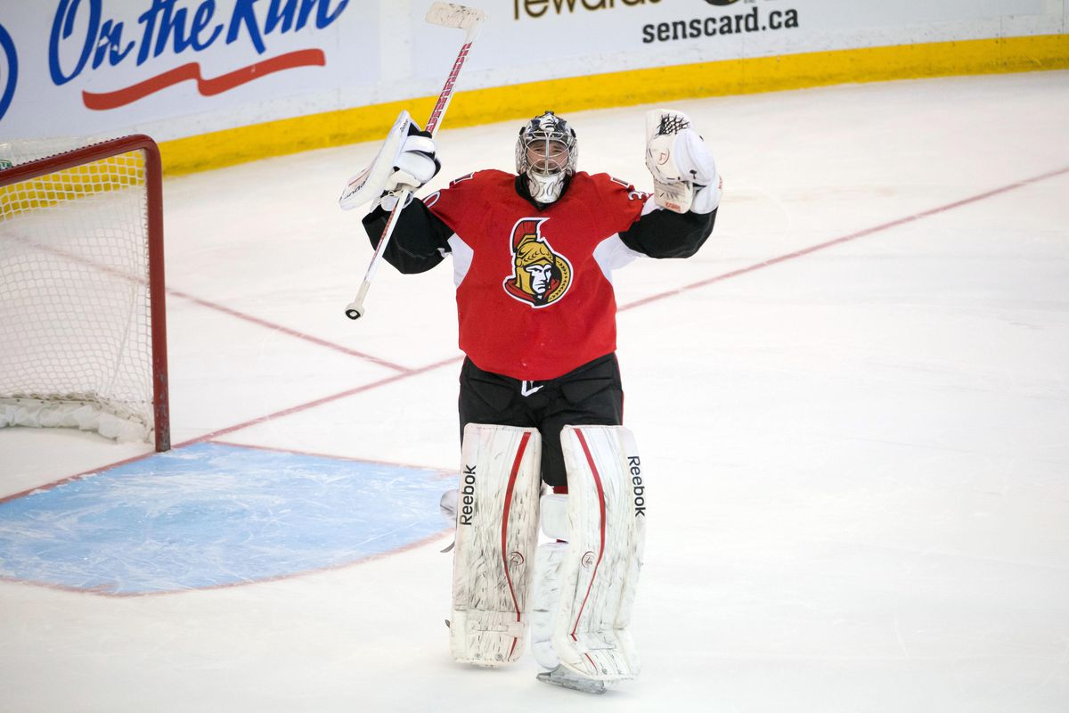 Ben Bishop, 2013 Ottawa Senators limbo champion.