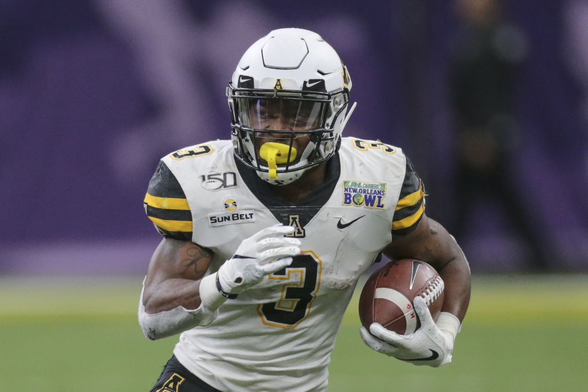 Appalachian State Mountaineers running back Darrynton Evans (3) during the New Orleans Bowl Game between the Appalachian State Mountaineers and the UAB Blazers on December 21, 2019, at the Mercedes-Benz Superdome in New Orleans, LA.