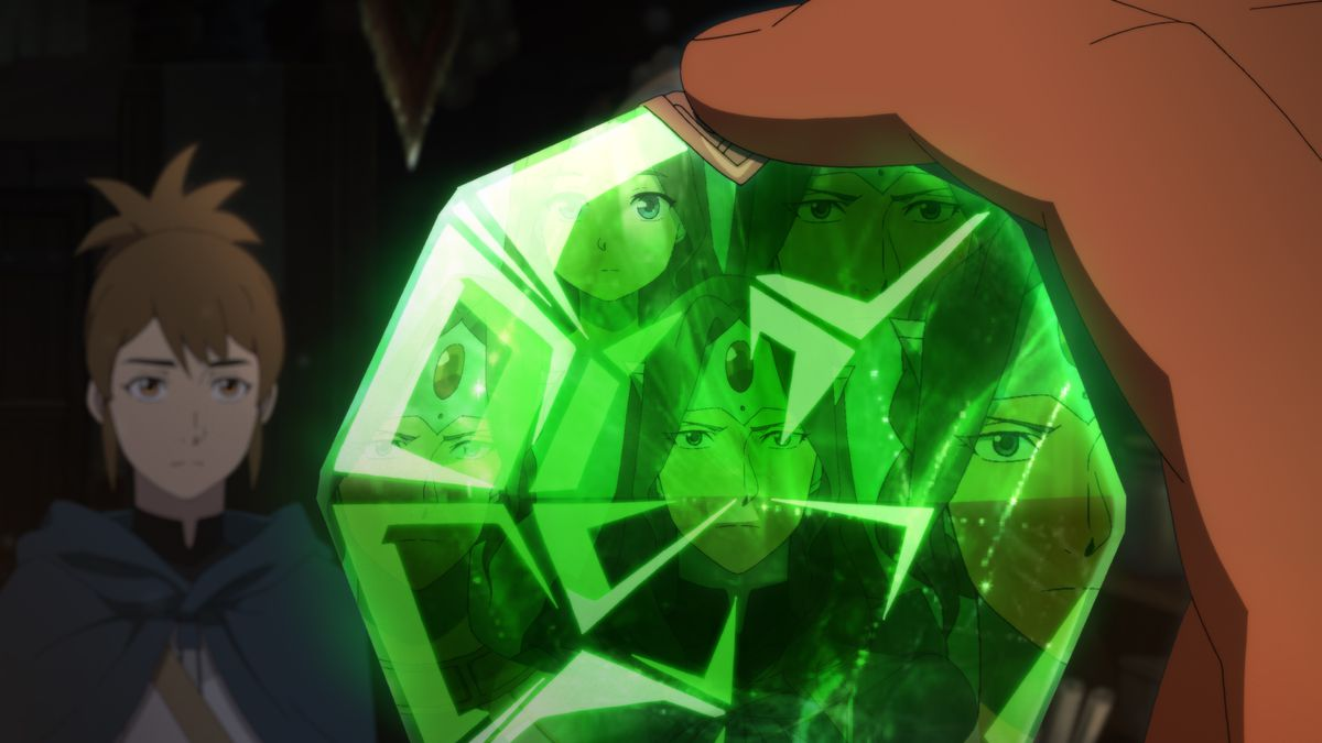 A face reflected in a huge, faceted green gem in DOTA: Dragon's Blood