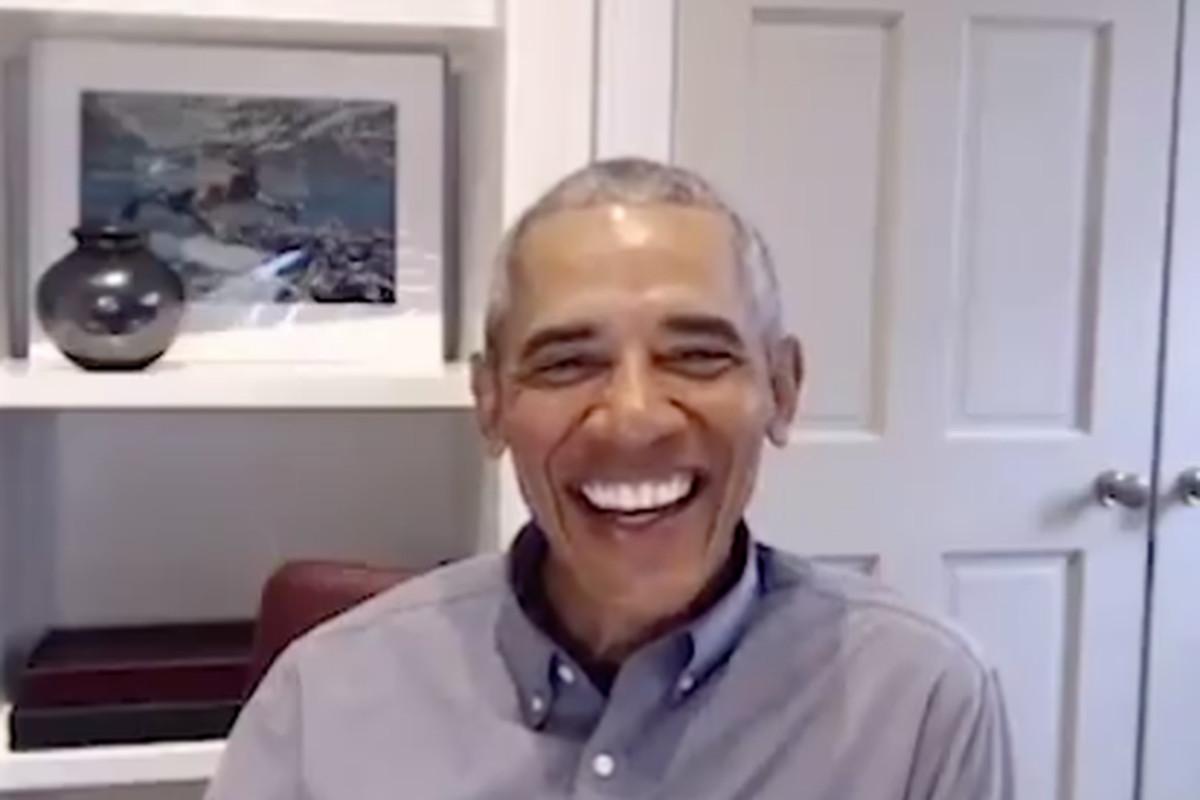 Former President Barack Obama on video call