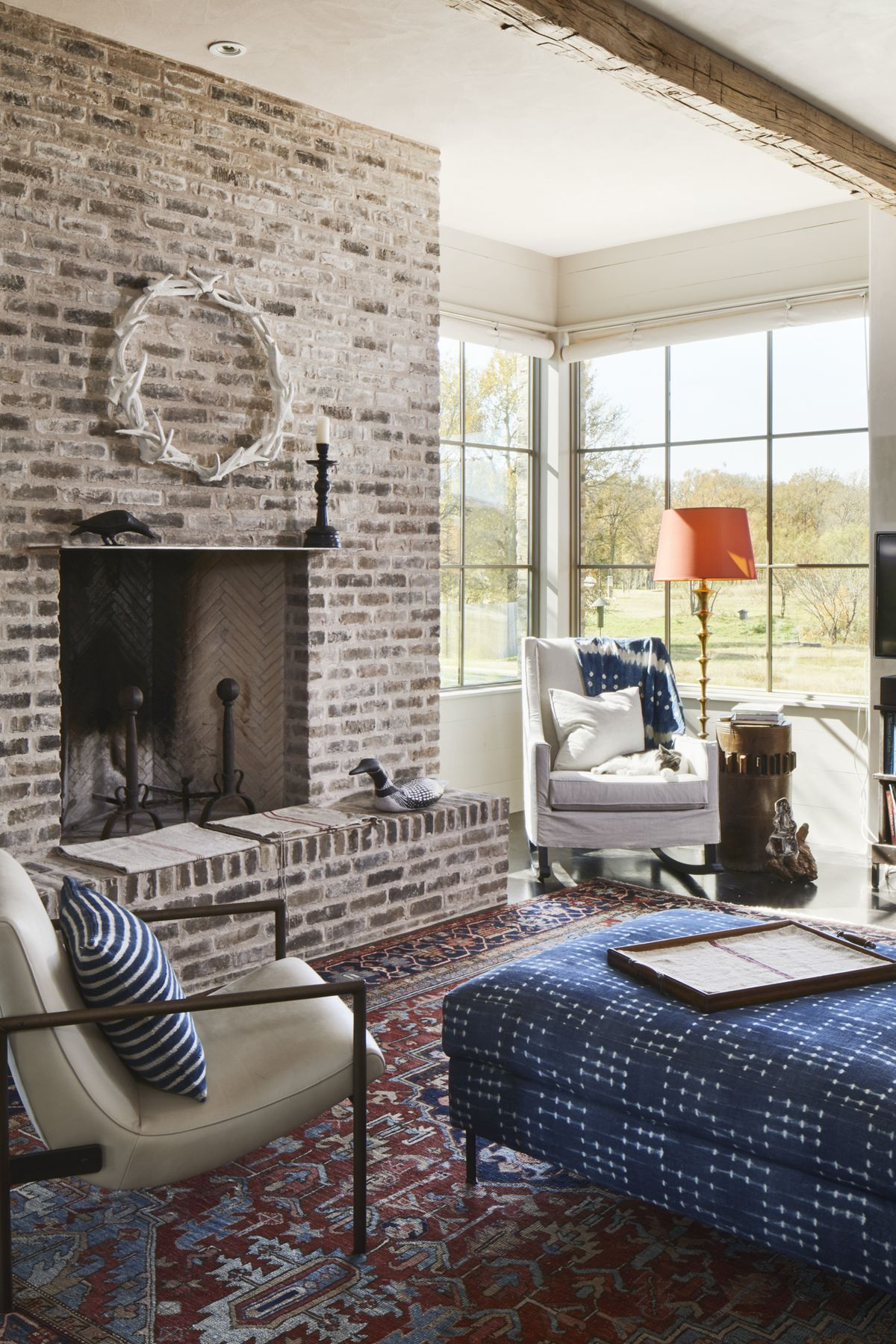 The Rustic Brick Makes Up The Fireplace Surround A Corner