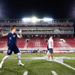 BYU quarterback Joe Critchlow warms up prior to the Cougars' 31-21 win over UNLV on Friday, Nov. 10, 2017, at Sam Boyd Stadium in Las Vegas.