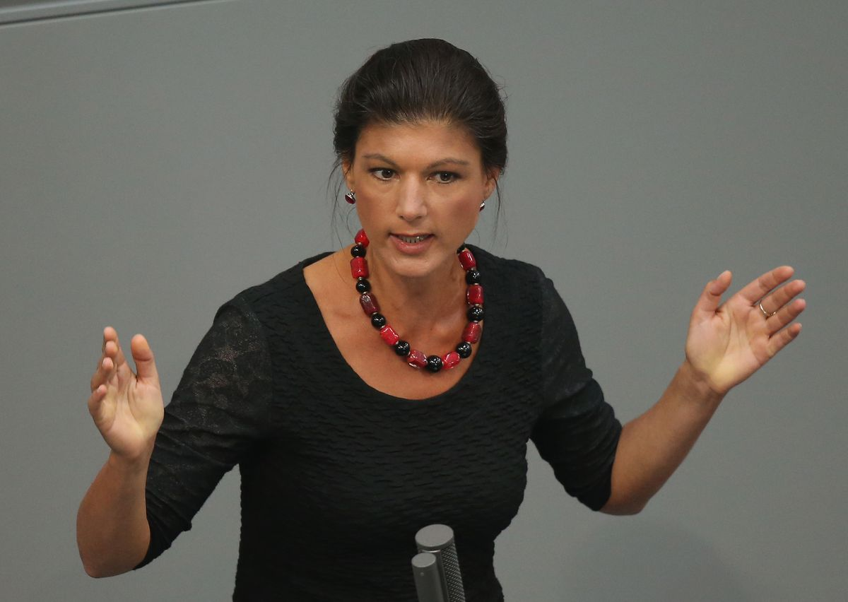 Wagenknecht is pictured discussing aid to Greece on July, 2015