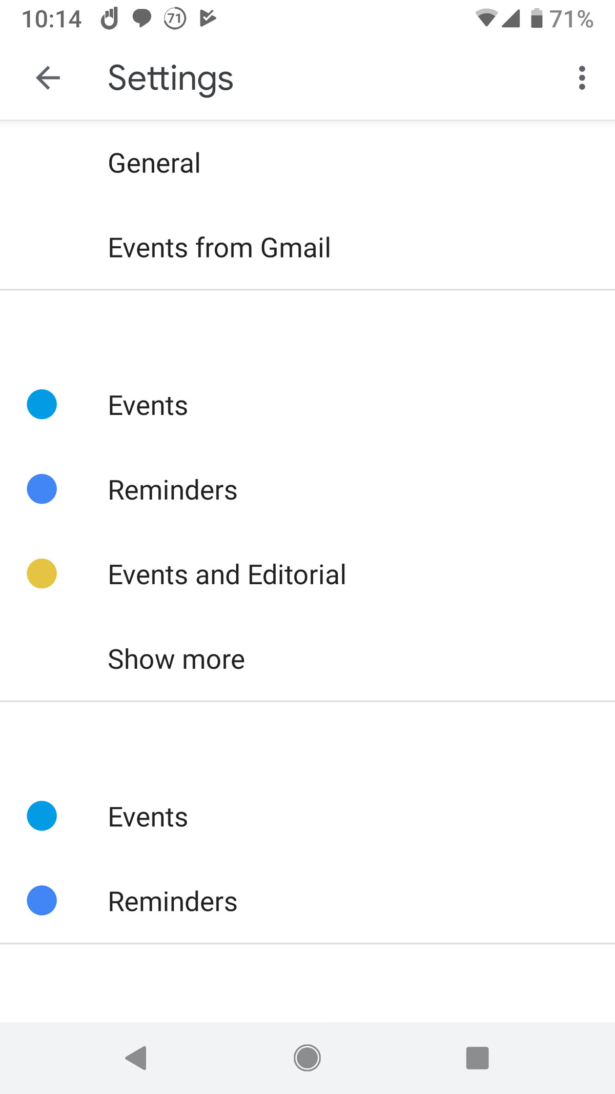 google calendar mobile declined events