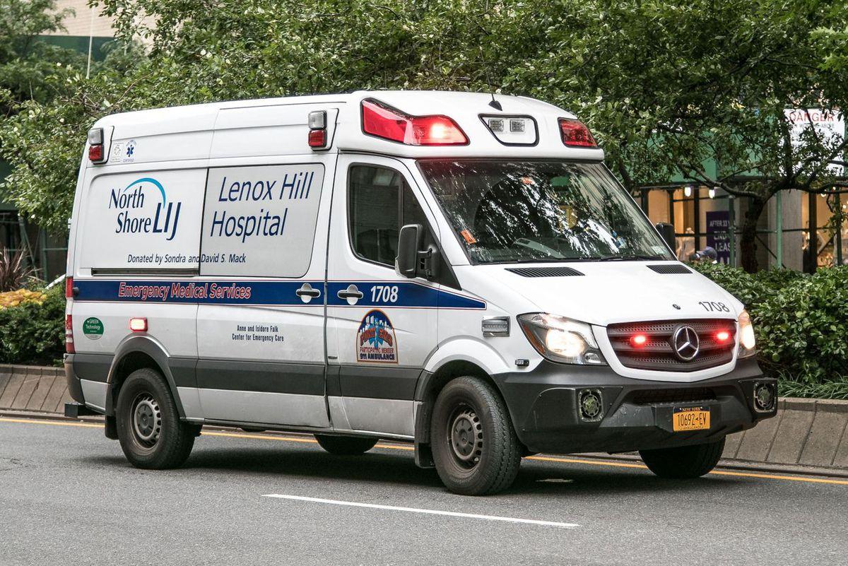 A Lenox Hill Hospital ambulance races through Manhattan.