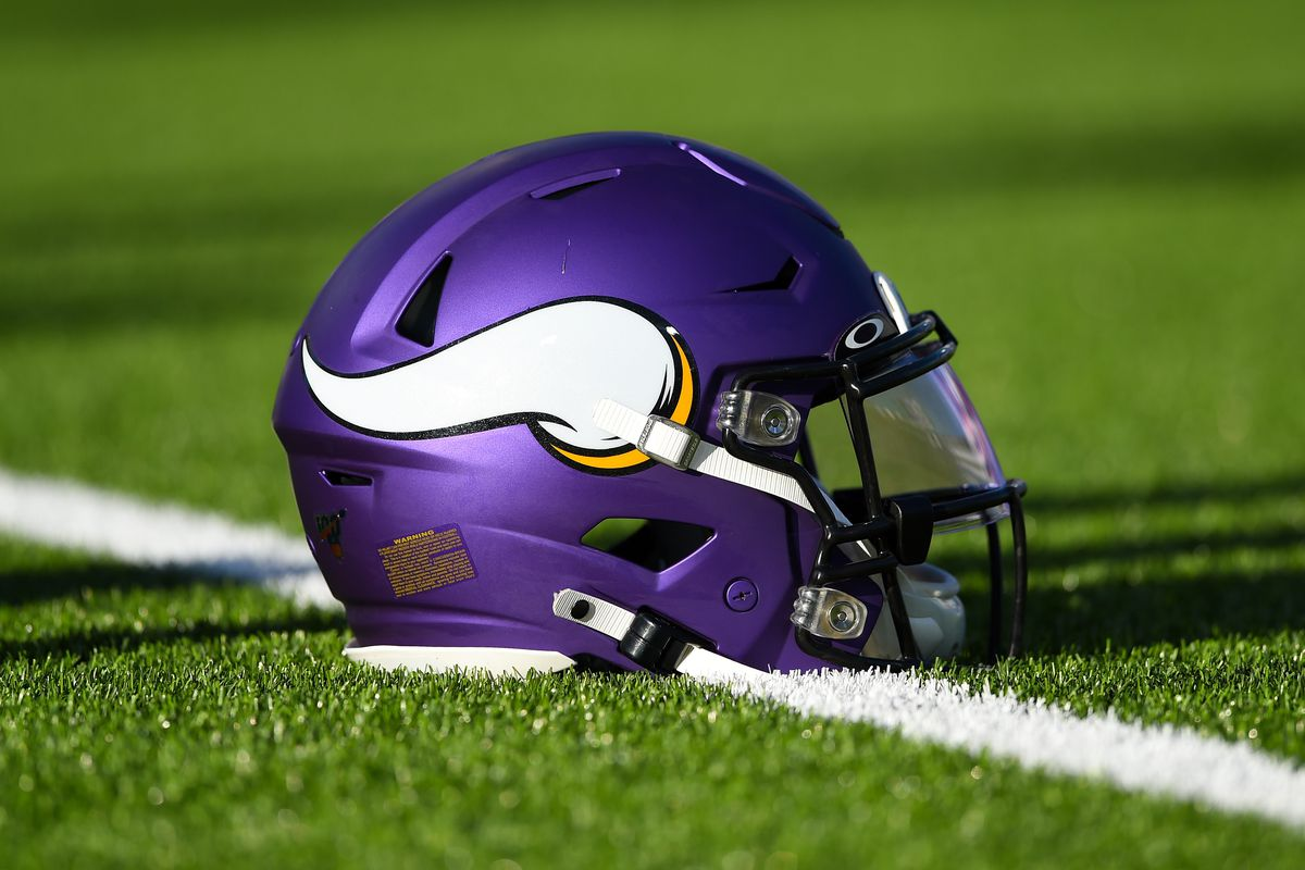 General view of a Minnesota Vikings helmet prior to the game against the Buffalo Bills at New Era Field.
