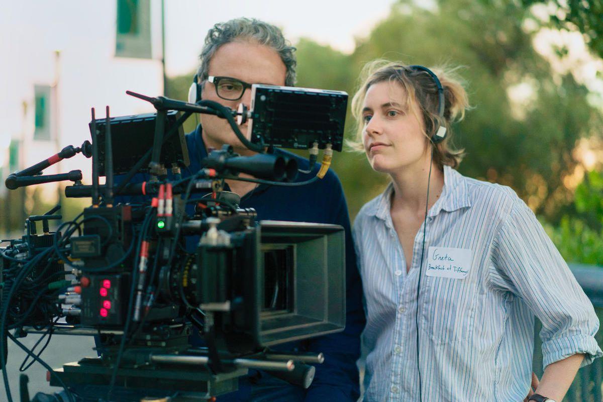 "Sam Levy and Greta Gerwig on the set of ""Lady Bird."""