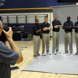 The Jazz coaching staff get their photo taken during media day at the Zions Bank Basketball Center on Sept. 30.