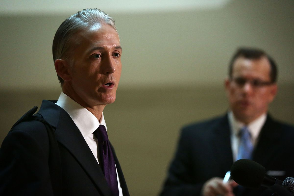 Rep. Trey Gowdy (L) (R-SC) speaks to members of the media prior to a closed-door deposition before the House Select Committee on Benghazi September 3, 2015, on Capitol Hill in Washington, DC.