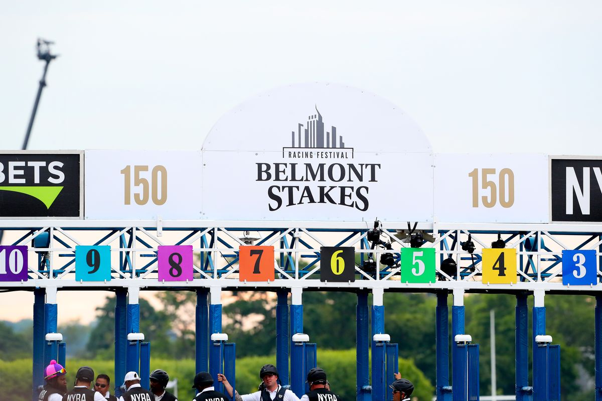 A General view of the starting gate prior to the running of the 150th Belmont Stakes on June 9, 2018, at Belmont Park in Hempstead, NY.