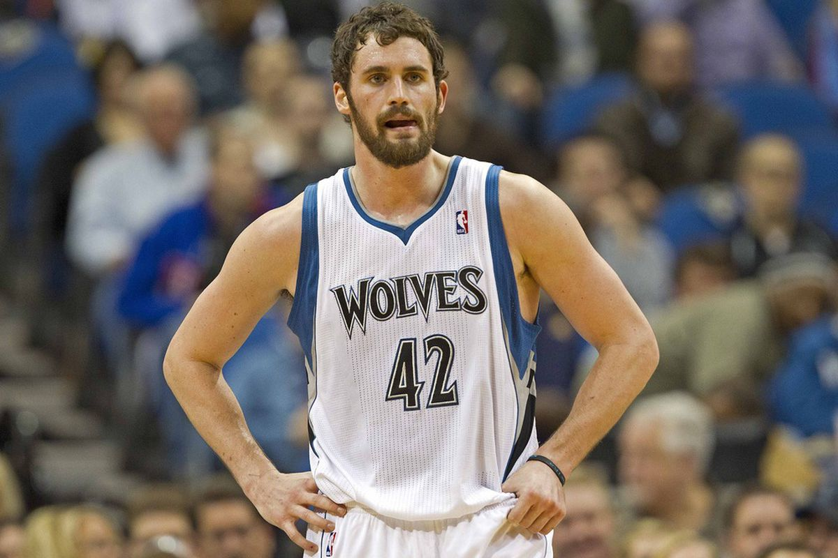 Apr 9, 2012; Minneapolis, MN, USA: Minnesota Timberwolves forward Kevin Love (42) looks on during the first half against the Phoenix Suns at Target Center. Mandatory Credit: Jesse Johnson-US PRESSWIRE