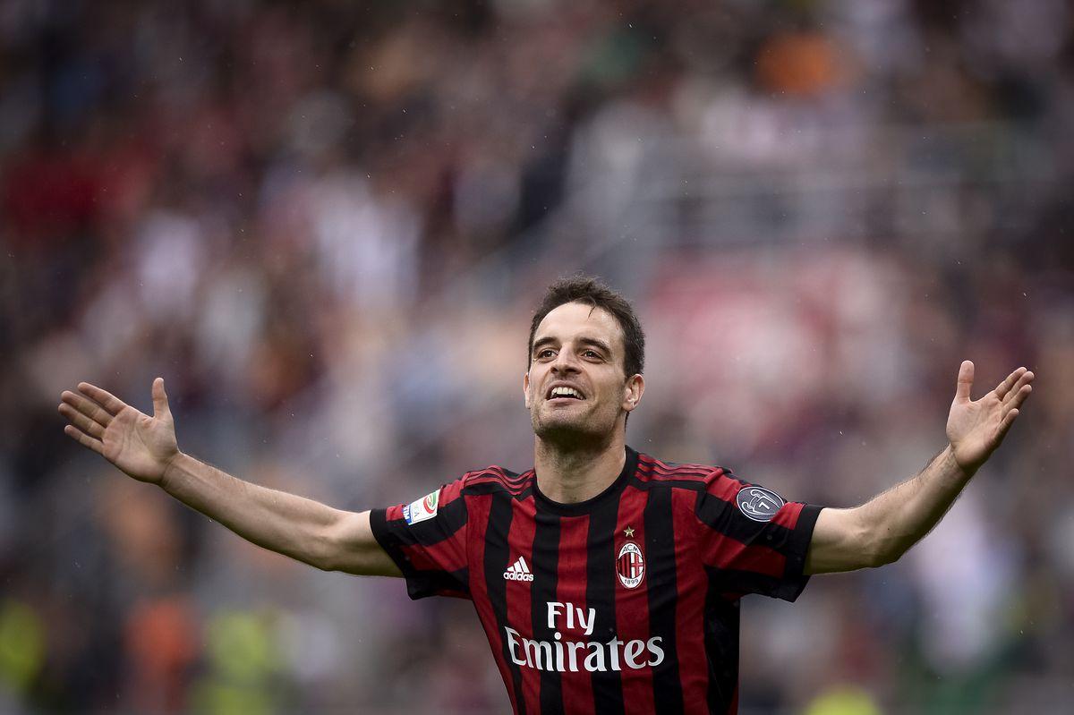 Giacomo Bonaventura of AC Milan celebrates after scoring a...