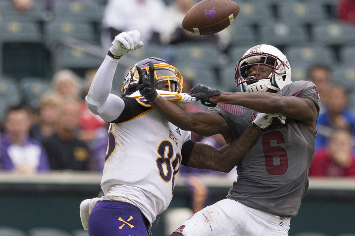 Temple Owls CB Rock Ya-Sin breaks up a pass intended for East Carolina PiratesWR Trevon Brown, Oct. 6, 2018.
