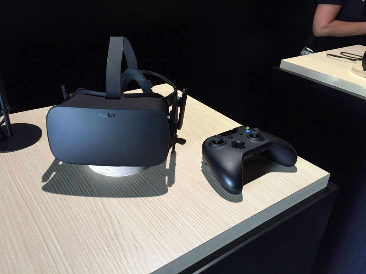 The consumer Oculus Rift with an Xbox One controller