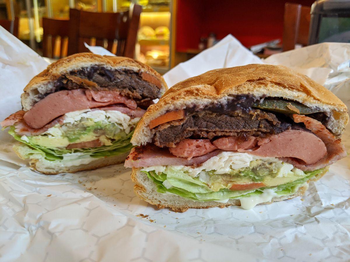 Two halves of the torta Cubana sandwich