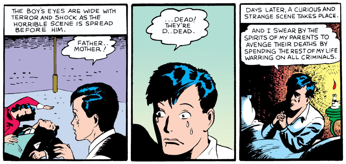 """After witnessing his parents deaths, Bruce Wayne swears to spend """"the rest of my life warring on all criminals,"""" in the first reveal of Batman's origin story in Detective Comics #33, DC Comics (1939)."""