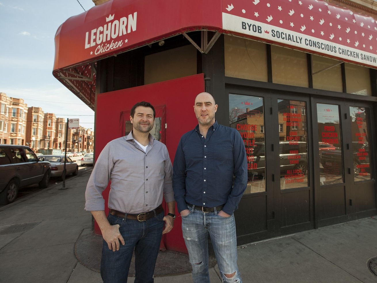 Element Collective's Chris Freeman and Chris Dexter stand outside Leghorn Chicken in 2015.