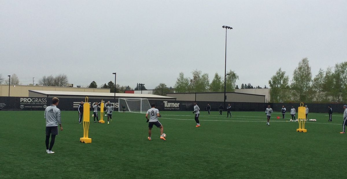 Diego Valeri receives a pass at Portland Timbers training. (cropped) Will Conwell. 4/7/15