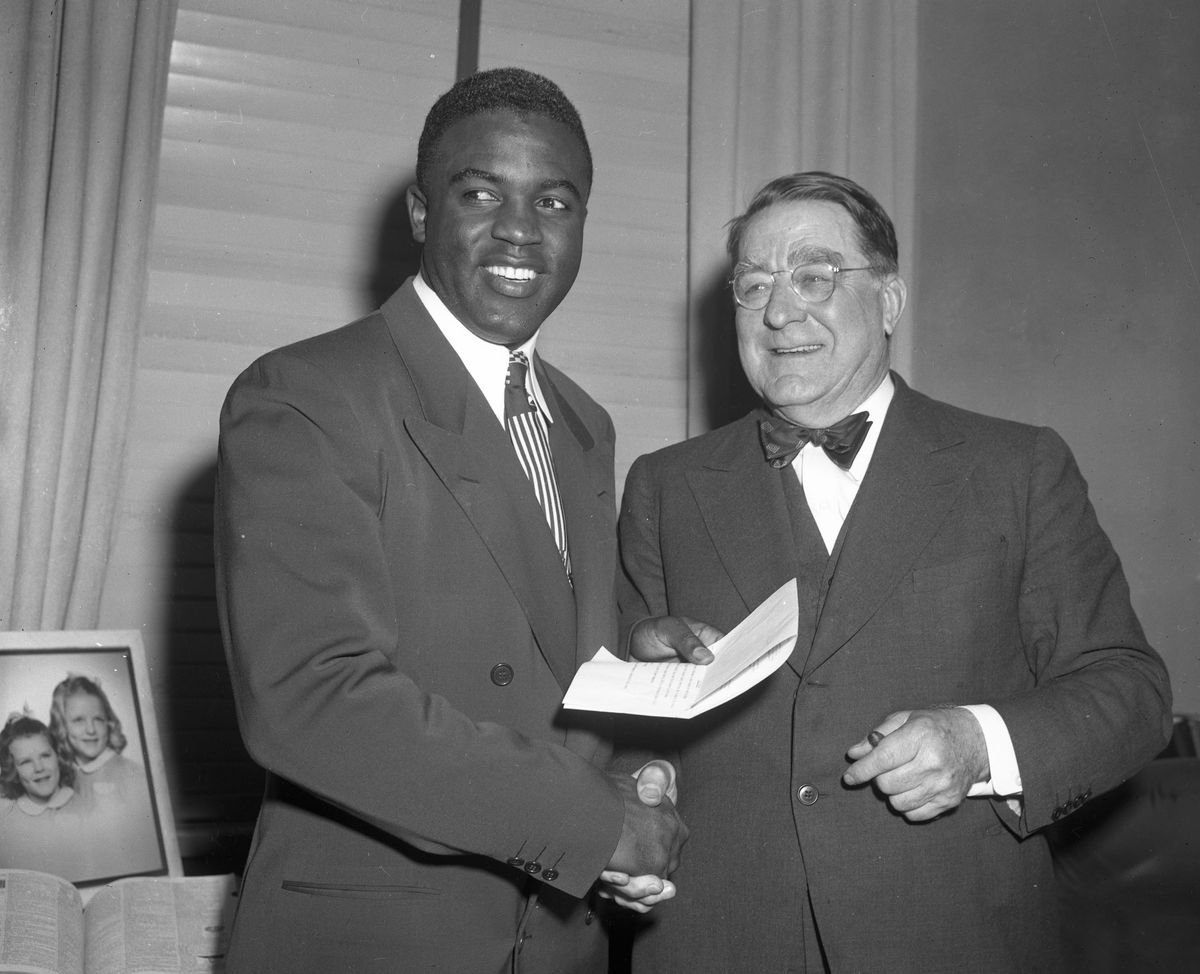 Jackie Robinson Signs Contract B. Rickey Dodgers 1950