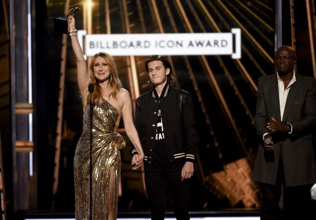 Rene-Charles Angelil presents the Icon Award to his mother, Celine Dion, at the Billboard Music Awards at the T-Mobile Arena on Sunday, May 22, 2016, in Las Vegas.   Chris Pizzello/Invision/AP