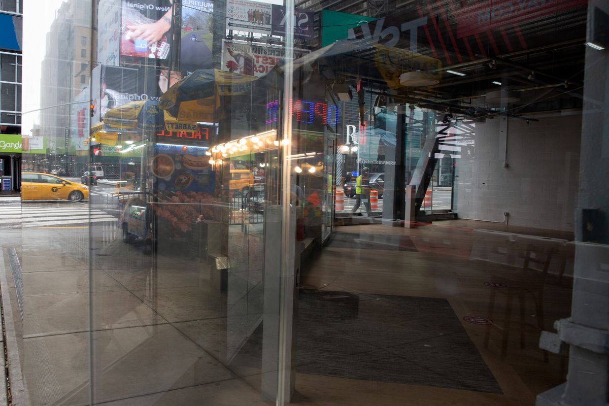 Times Square was still littered with vacant commercial space nearly a year after the start of coronavirus shutdowns in the city, Feb. 23, 2021.