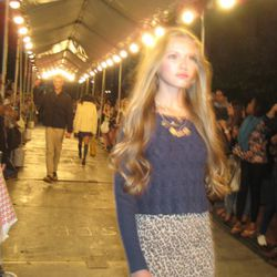 A non-tripping model at the ASOS & Teen Vogue block party runway show