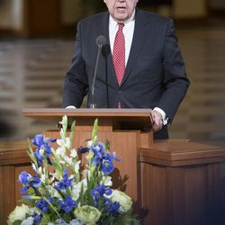 Elder Jeffrey R. Holland, of the Quorum of the Twelve Apostles, speaks at a news conference Tuesday, Jan. 27, 2015, inside the Conference Center in Salt Lake City, as LDS leaders reemphasize support for LGBT nondiscrimination laws that protect religious freedoms.