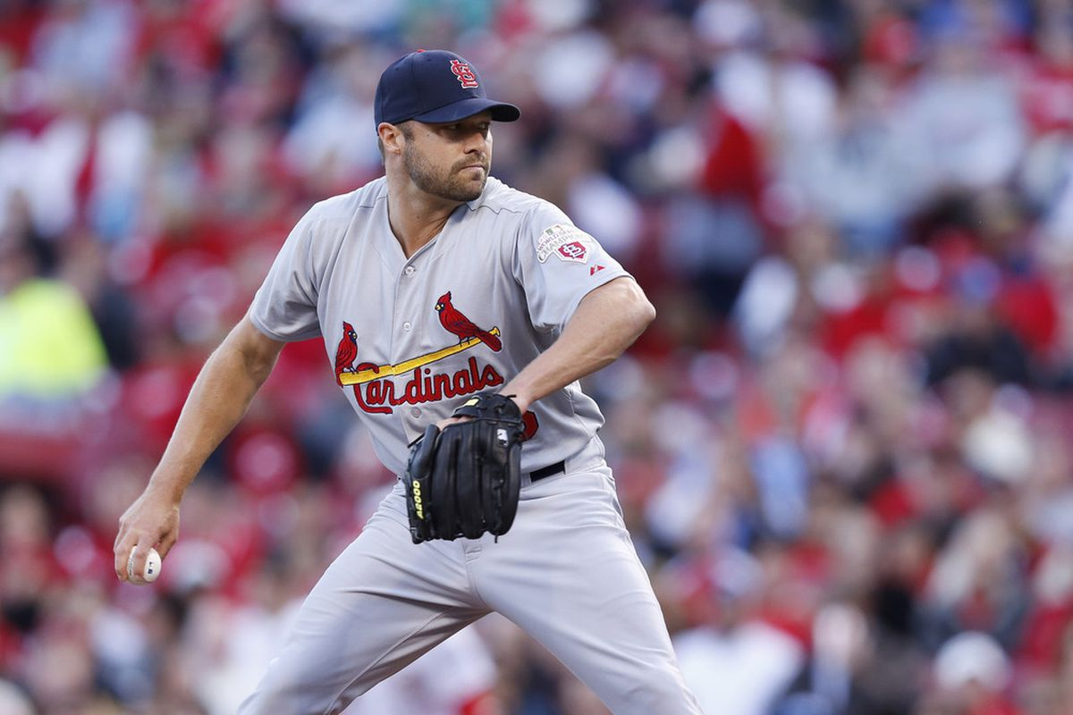 CINCINNATI, OH - APRIL 9: Jake Westbrook #35 of the St. Louis Cardinals pitches in the first inning against the Cincinnati Reds at Great American Ball Park on April 9, 2012 in Cincinnati, Ohio. (Photo by Joe Robbins/Getty Images)