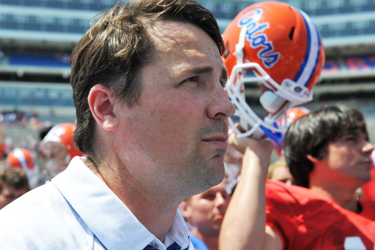 GAINESVILLE, FL - APRIL 9:  Coach Will Muschamp of the Florida Gators leaves the field after the Orange and Blue spring football game April 9, 2010 Ben Hill Griffin Stadium in Gainesville, Florida.  (Photo by Al Messerschmidt/Getty Images)