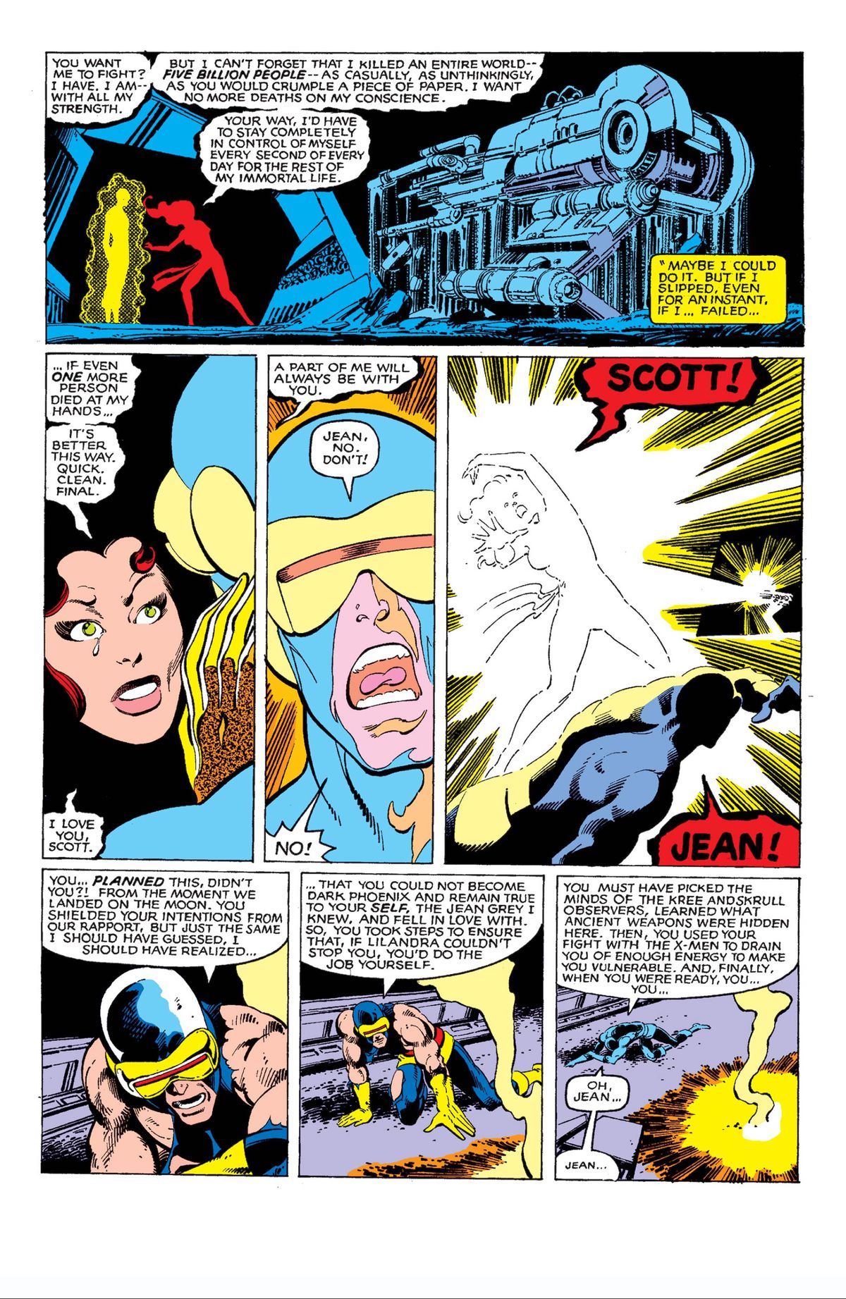Jean Grey chooses to die at the end of The Phoenix Saga, Uncanny X-Men #137, Marvel Comics (1980).