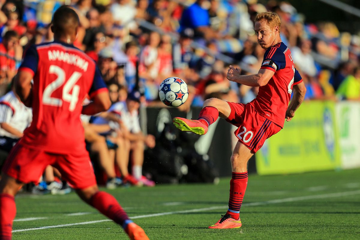 New father Jeff Larentowicz' header on goal led to the Fire's first goal of the evening.