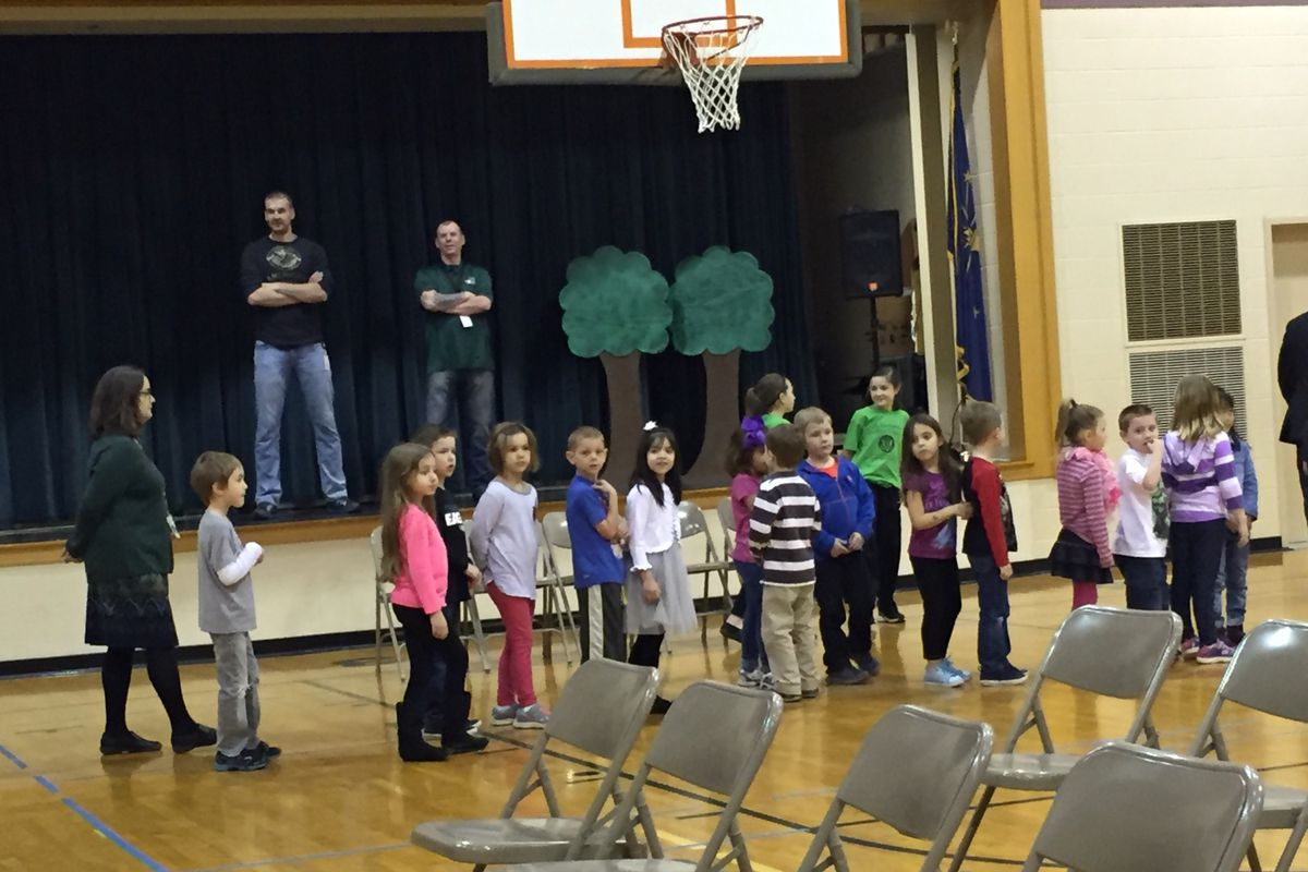 Students at Eagle Elementary School in Zionsville line up to for an assembly.