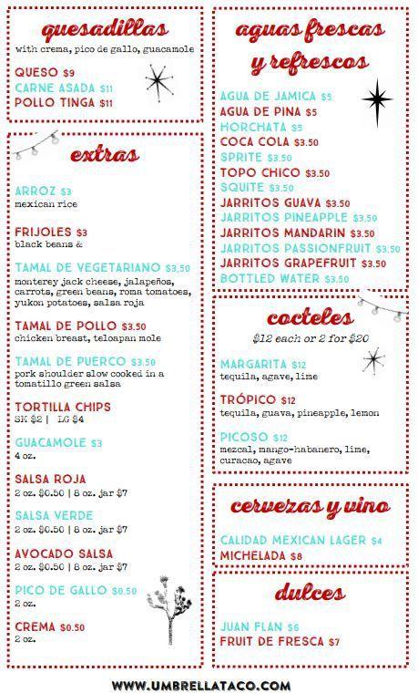 Umbrella Taco menu 2