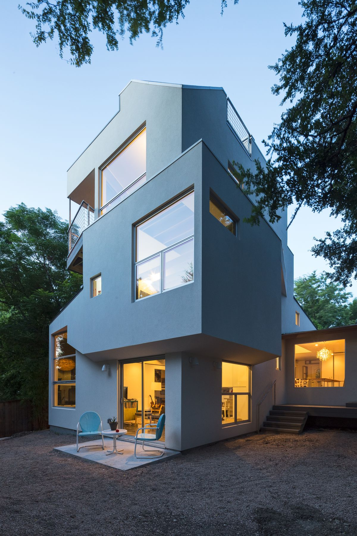 3-story contemporary, white, staggered levels, exterior of house