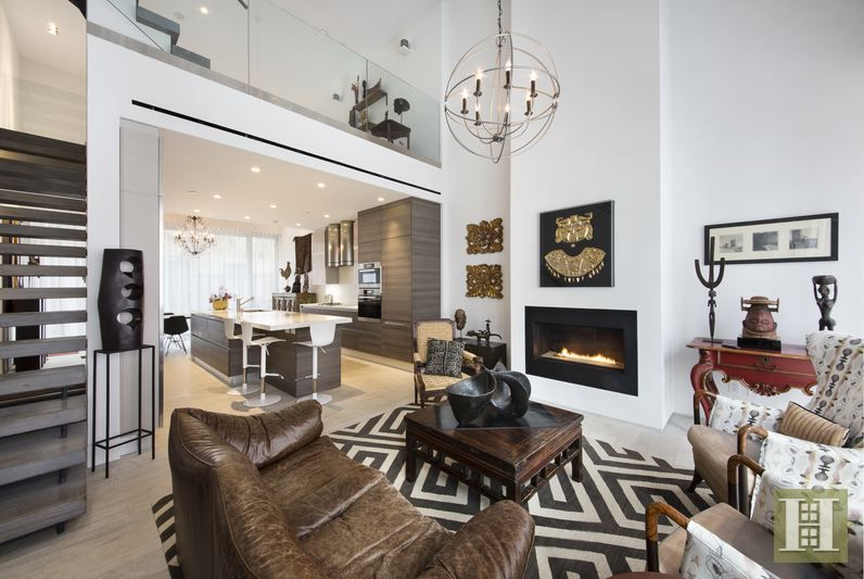 Black and white living room at 168 Water Street