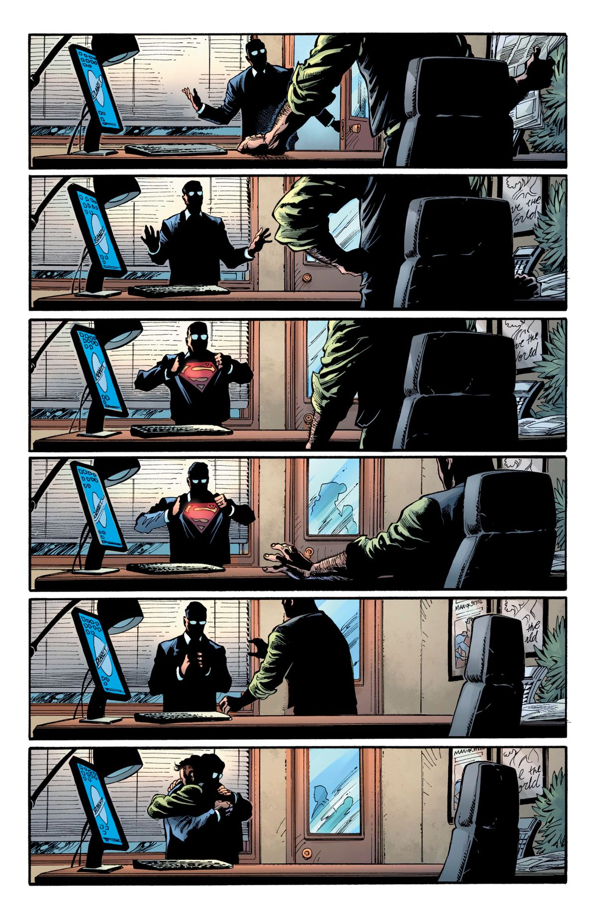 In Perry White's office, Clark Kent speaks to White, and then pulls open his shirt to reveal his Superman costume. Perry sits down, shocked. Then he crosses the room, and hugs him. The page has no words on it. Superman #18, DC Comics (2019).