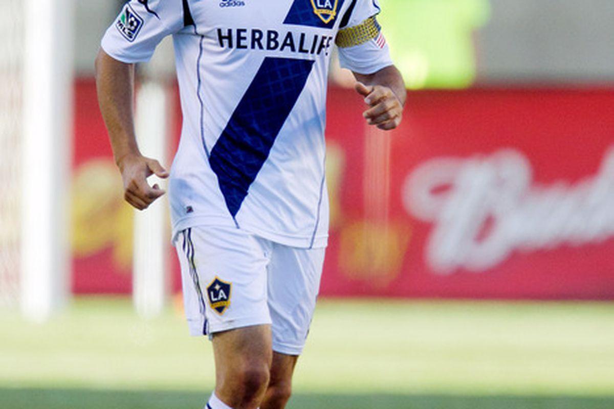 June 20, 2012;  Sandy, UT, USA; Los Angeles Galaxy midfielder Landon Donovan (10) reacts to scoring a goal during the first half against Real Salt Lake at Rio Tinto Stadium. Mandatory Credit: Russ Isabella-US PRESSWIRE