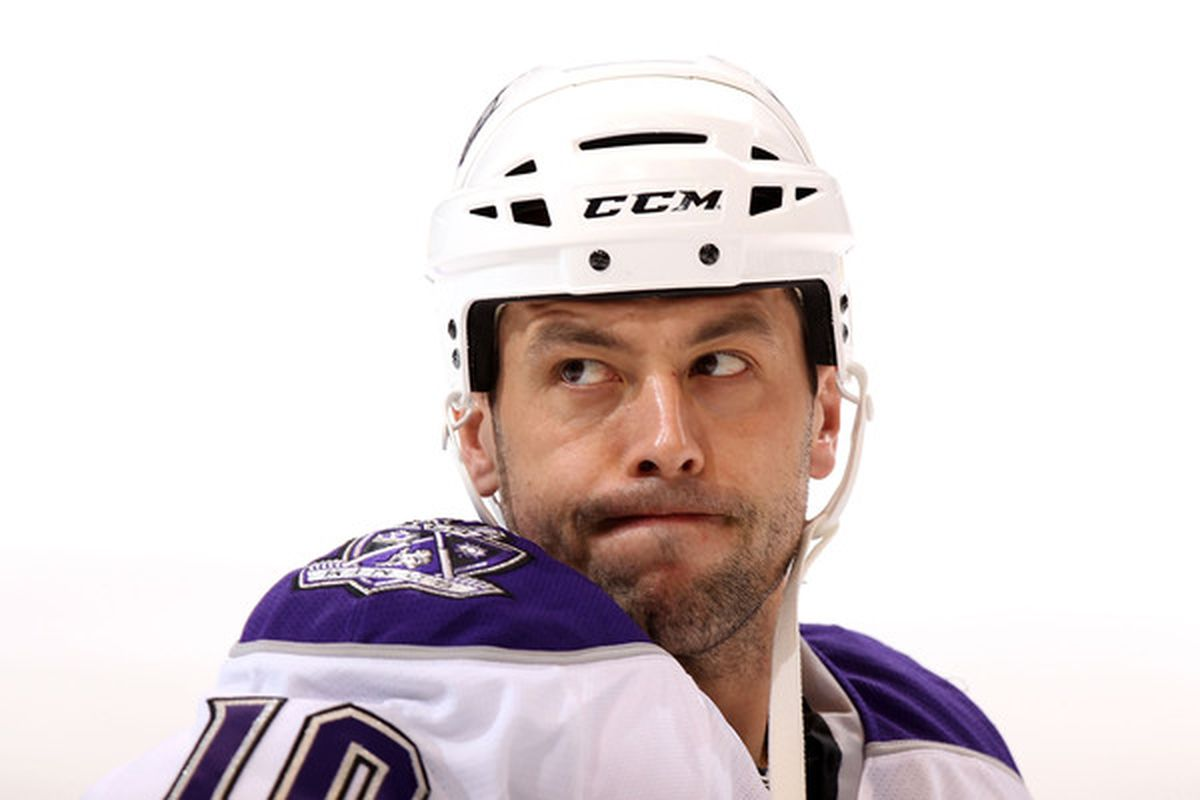 GLENDALE AZ - DECEMBER 29:  Marco Sturm #10 of the Los Angeles Kings warms up before the NHL game against the Phoenix Coyotes at Jobing.com Arena on December 29 2010 in Glendale Arizona.  (Photo by Christian Petersen/Getty Images)