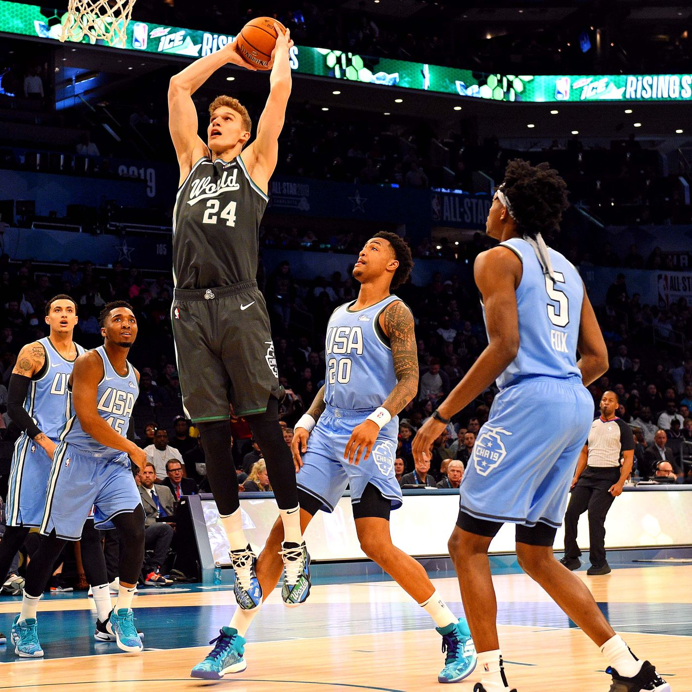 abe4e8294 Lauri Markkanen shines with 21 points in 2019 Rising Stars Challenge at All- Star Weekend