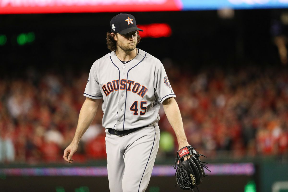 Gerrit Cole of the Houston Astros reacts after retiring the side in the seventh inning against the Washington Nationals in Game Five of the 2019 World Series at Nationals Park on October 27, 2019 in Washington, DC.