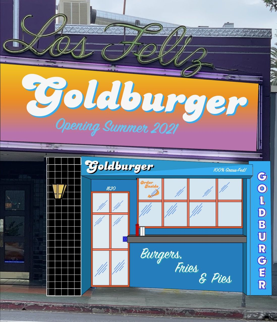 A colorful rendering of a burger shop next to a movie theater.