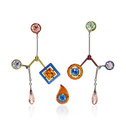 """Peter Pilotto's super colorful style comes to life when paired with the painted brass and colorful crystals. This pair comes with a """"bonus stud"""" to be worn in your second piercing."""