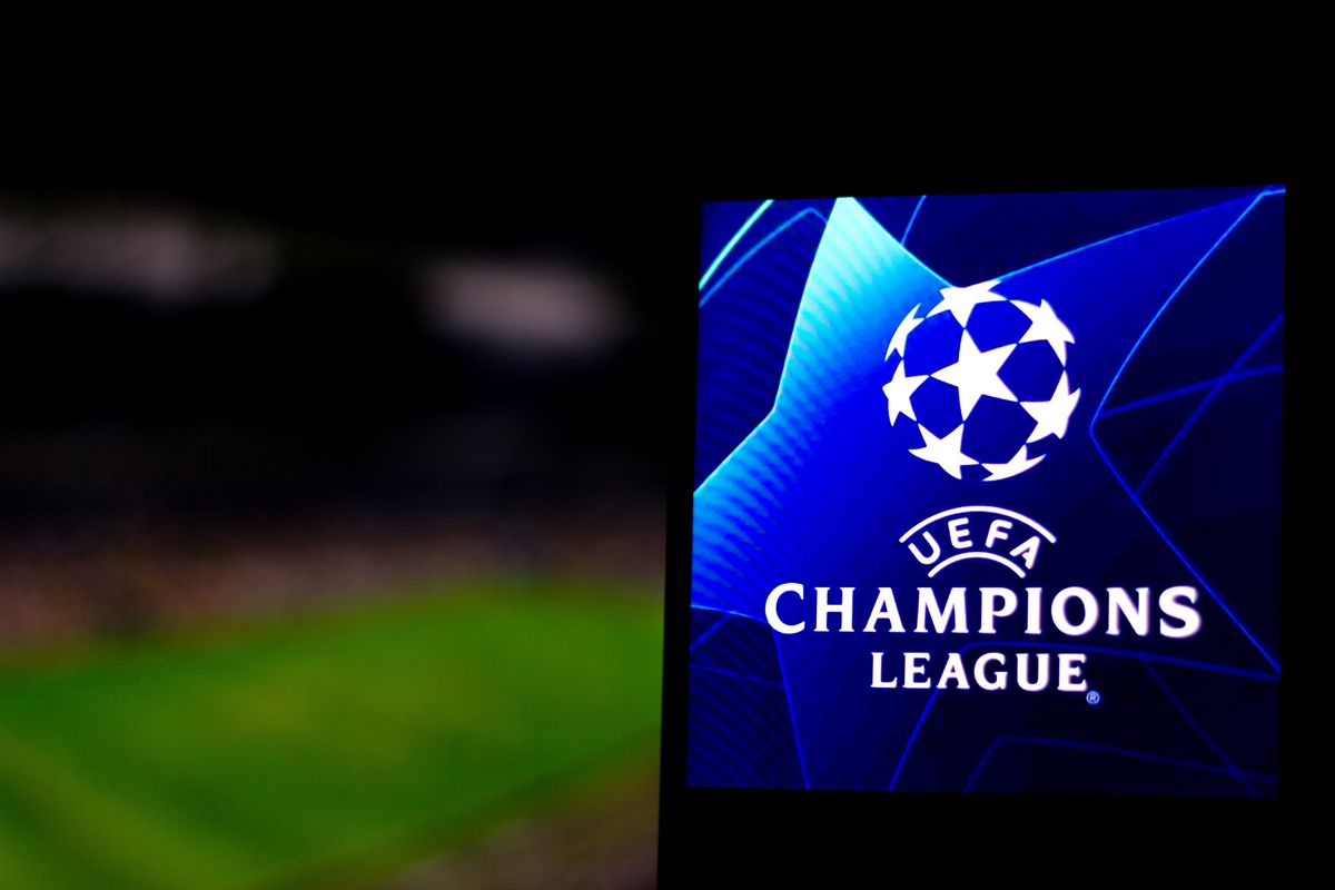 In this photo illustration a UEFA Champions League logo seen...