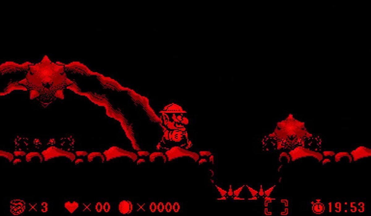 Wario evades spike-balls in Virtual Boy Wario Land