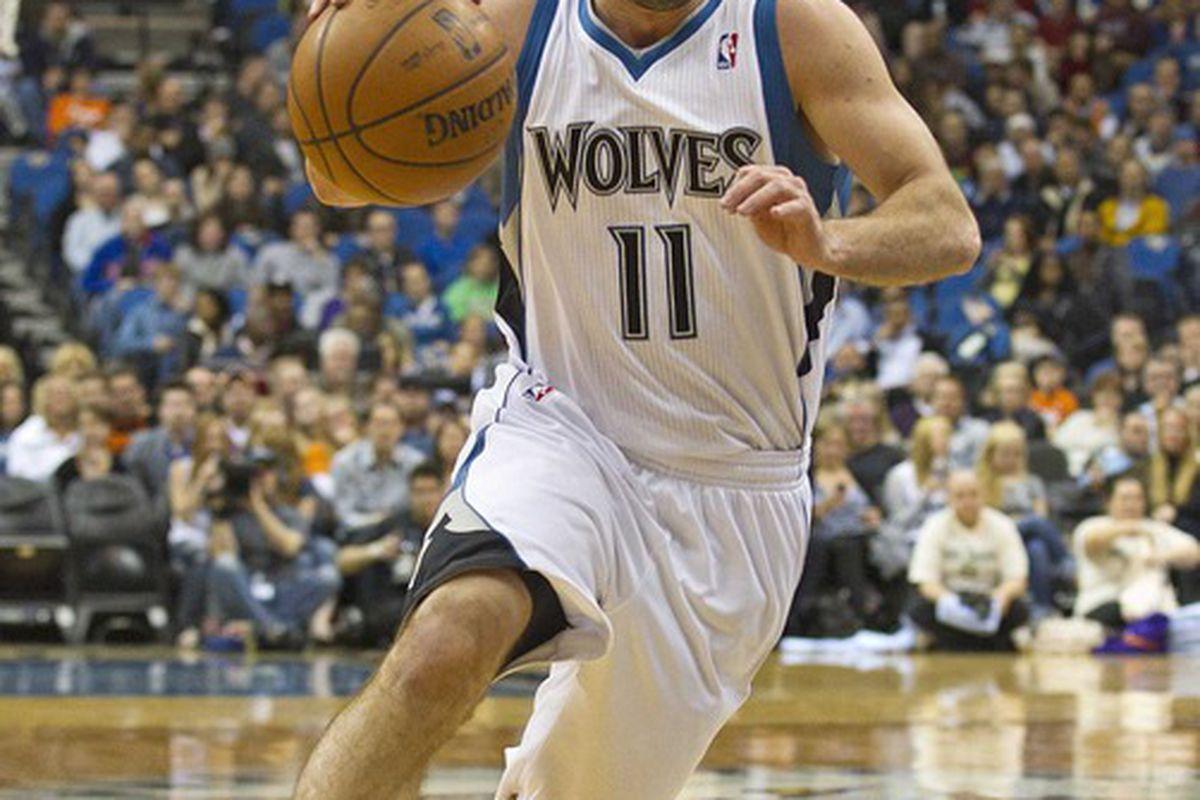 Apr 9, 2012; Minneapolis, MN, USA: Minnesota Timberwolves guard Jose Juan Barea (11) drives to the basket against the Phoenix Suns at Target Center. Mandatory Credit: Jesse Johnson-US PRESSWIRE