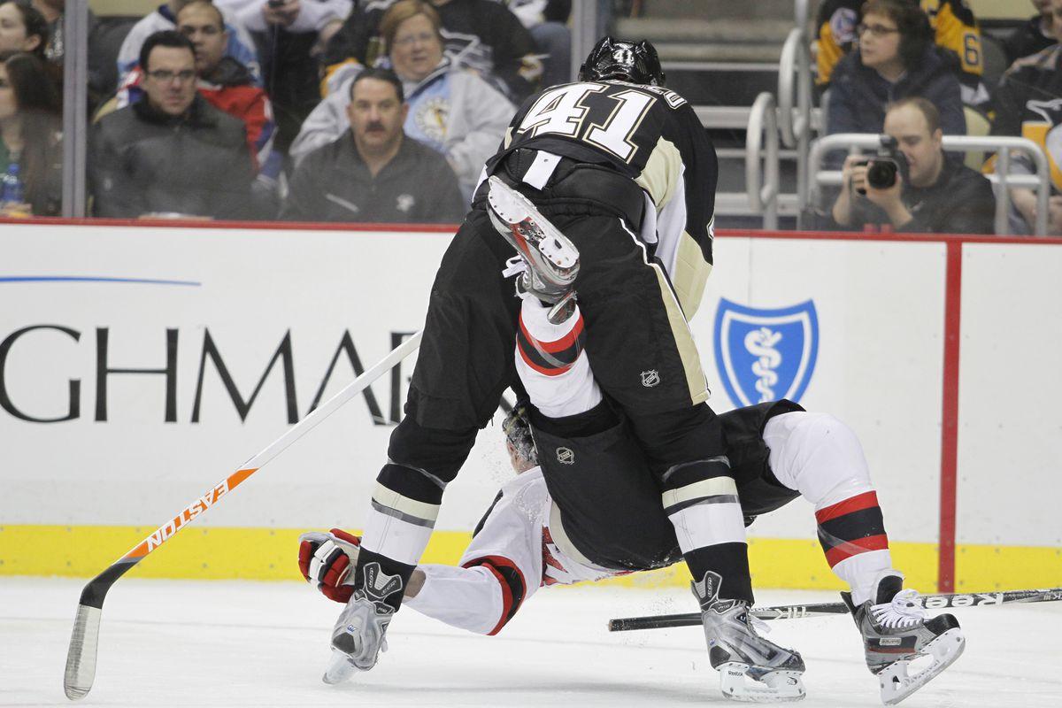Yeah, it felt like this today.  The Penguins just keeping the Devils down simply because they could. Incidentally, this is Roberto Bortuzzo checking David Clarkson.