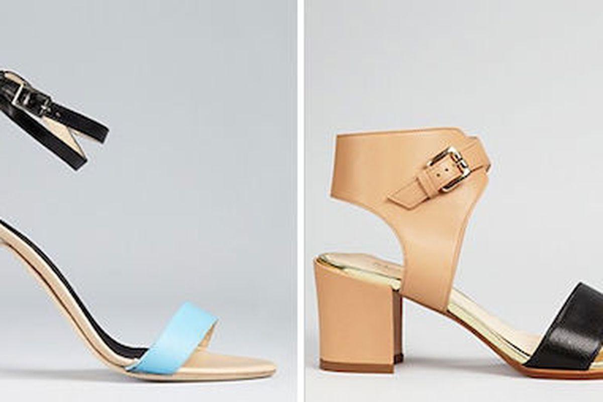 "<a href=""http://www1.bloomingdales.com/shop/product/tibi-sandals-amber-python?ID=606138&amp;CategoryID=17398"">Tibi high-heel sandals</a>, $153 (were $365) and <a href=""http://www1.bloomingdales.com/shop/product/max-mara-sandals-cirino-block-heel?ID="