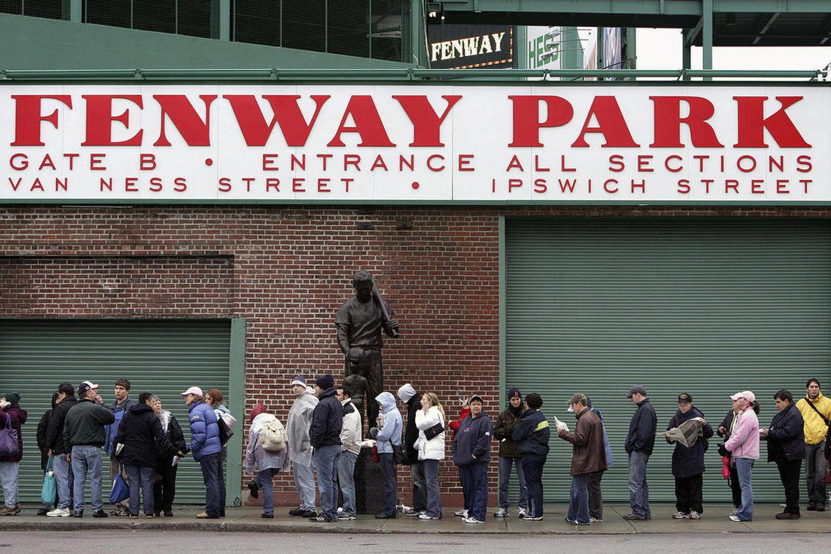 FILE - In this Dec. 11, 2004 file photo showing fans lining up outside Fenway Park in Boston.  Among MLB teams, the Red Sox had the costliest average ticket price last year at $53.38, according to Team Marketing Report, which tracks ticket prices.