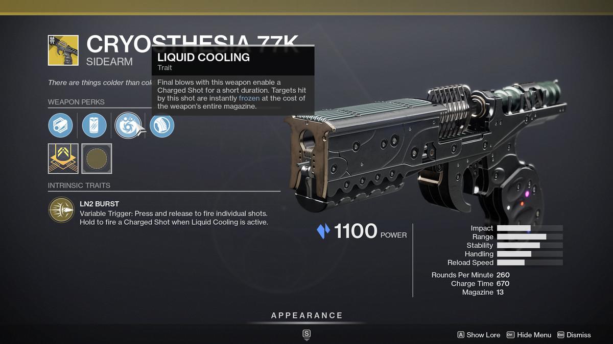 Destiny 2 Season of the Splicer Cryosthesia 77K arma de mano